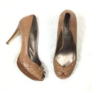 Moda brown peep toe heels